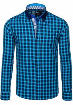 Koszula męska BOLF 5813 turkusowa