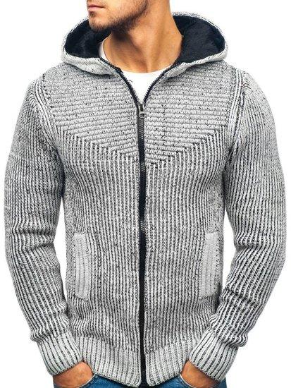 Sweter męski szaro-czarny Denley 20008