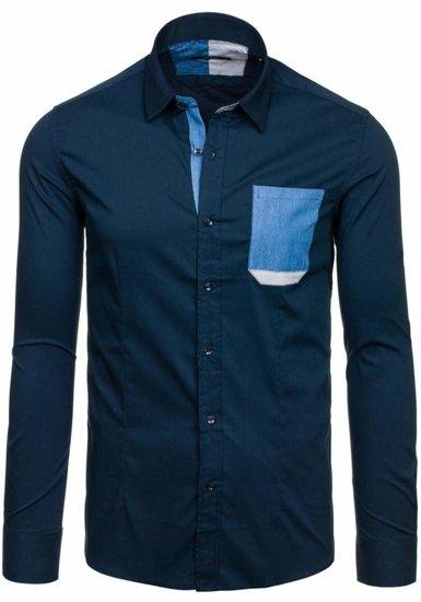 Koszula męska elegancka z długim rękawem granatowa Denley 7192