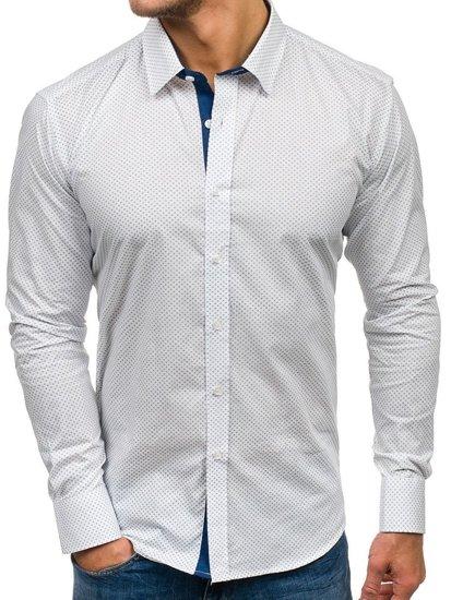 Koszula męska we wzory z długim rękawem biała Denley GE1014