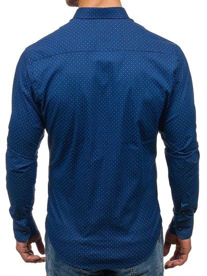 Koszula męska we wzory z długim rękawem granatowa Bolf 7716