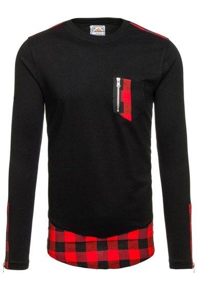 Bluza męska bez kaptura czarno-czerwona Denley 0758