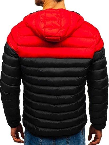 Kurtka męska zimowa sportowa czarno-czerwona Denley SM17