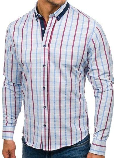 Koszula męska w kratę z długim rękawem niebieska Bolf 8809