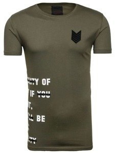 T-shirt męski z nadrukiem zielony Denley 196