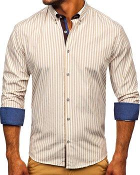 Beżowa koszula męska w paski z długim rękawem Bolf 20704