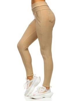 Beżowe legginsy damskie Denley YW01040