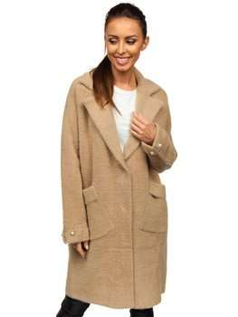 Beżowy płaszcz damski Denley 20737