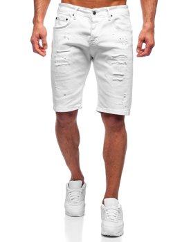 Białe krótkie spodenki jeansowe męskie Denley 3030-1