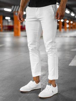 Białe spodnie chinosy męskie Denley 1146