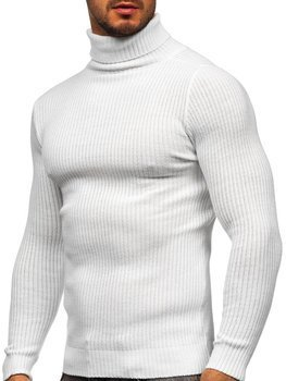 Biały sweter męski golf Denley 4607