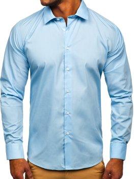 Błękitna koszula męska elegancka z długim rękawem Denley SM38