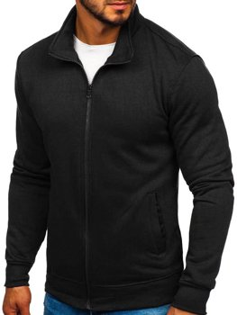 Bluza męska bez kaptura rozpinana czarna Denley B002