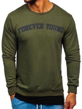Bluza męska bez kaptura z nadrukiem FOREVER YOUNG khaki Bolf 11116