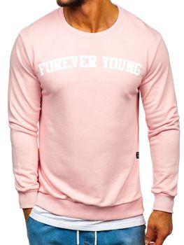 Bluza męska bez kaptura z nadrukiem FOREVER YOUNG różowa Bolf 11116