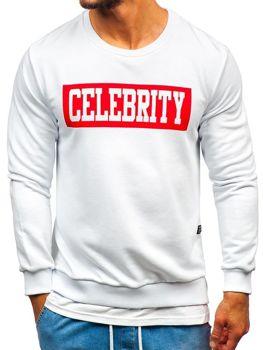 Bluza męska bez kaptura z nadrukiem biała Bolf 11115
