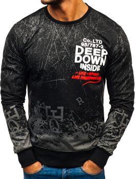 Bluza męska bez kaptura z nadrukiem grafitowa Denley 200116