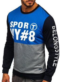 Bluza męska bez kaptura z nadrukiem niebieska Denley HY541