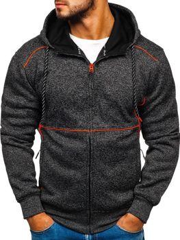 Bluza męska z kapturem czarno-pomarańczowa Denley 3855