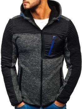 Bluza męska z kapturem rozpinana czarna Denley 3003