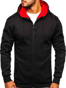 Bluza męska z kapturem rozpinana czarno-czerwona Denley 88022