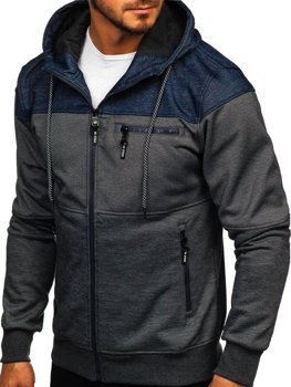 Bluza męska z kapturem rozpinana czarno-granatowa Denley 2063