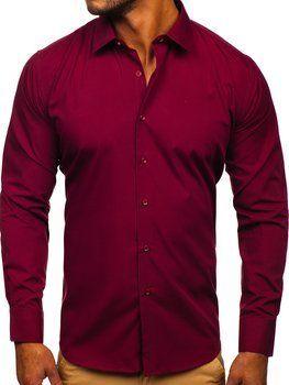 Bordowa koszula męska elegancka z długim rękawem Denley SM19