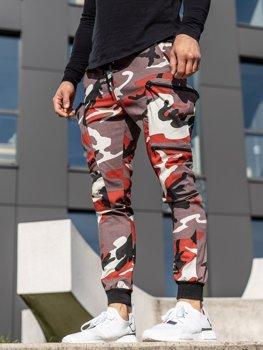 Bordowo-czerwone spodnie joggery bojówki męskie Denley 0475