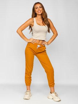 Camelowe spodnie dresowe damskie Denley YW01020