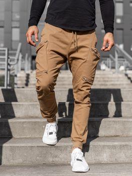 Camelowe spodnie joggery bojówki męskie Denley 0475