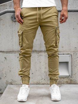 Camelowe spodnie joggery bojówki męskie Denley CT6702