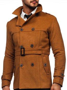 Camelowy płaszcz dwurzędowy z paskiem męski zimowy z wysokim kołnierzem Denley 0009