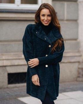 Ciemnozielony płaszcz damski Denley 7118-1