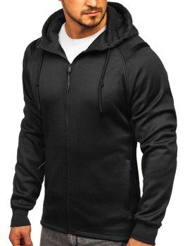 Czarna bluza męska z kapturem rozpinana Denley YD88003