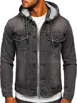 Czarna jeansowa kurtka męska z kapturem Denley RB9900-1