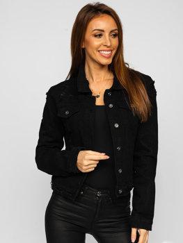 Czarna krótka katana jeansowa kurtka damska Denley WL1746-1