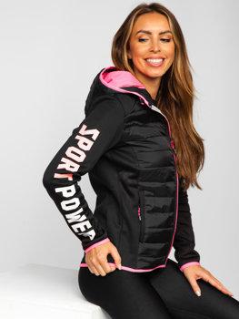 Czarna pikowana kurtka damska przejściowa z kapturem Denley KSW4008
