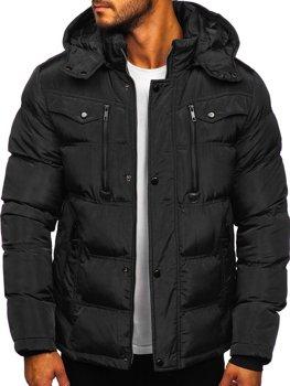 Czarna pikowana kurtka męska zimowa Denley 1182