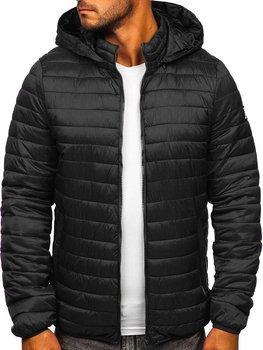 Czarna pikowana przejściowa kurtka męska sportowa Denley B0104