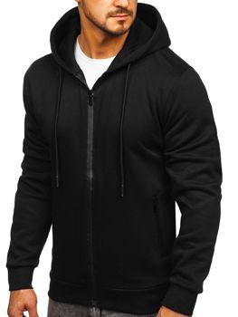 Czarna rozpinana bluza męska z kapturem Denley JX9773