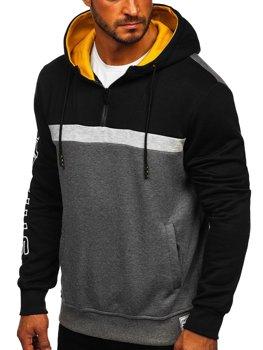 Czarna z nadrukiem bluza męska z kapturem Denley KS2223