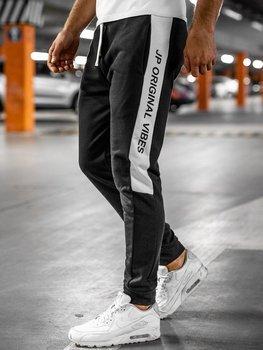 Czarne dresowe spodnie męskie Denley N1216