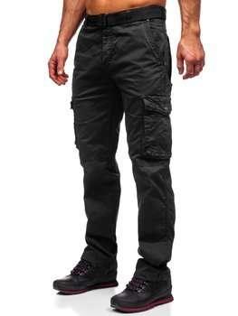 Czarne spodnie bojówki męskie z paskiem Denley CT8905