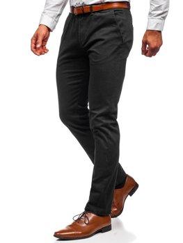 Czarne spodnie chinosy męskie Denley 1143