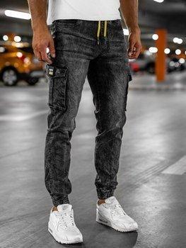 Czarne spodnie jeansowe joggery bojówki męskie Denley HY686