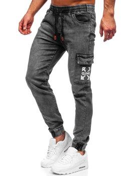 Czarne spodnie jeansowe joggery bojówki męskie Denley HY895