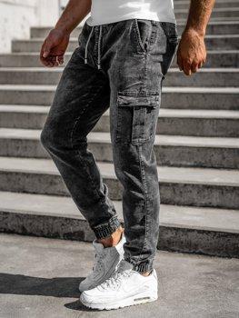 Czarne spodnie jeansowe joggery męskie Denley KA1316-1