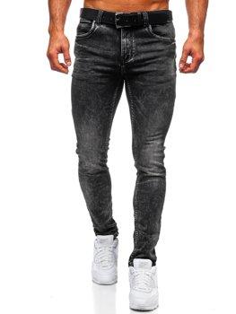 Czarne spodnie jeansowe męskie regular fit z paskiem Denley 30035W0
