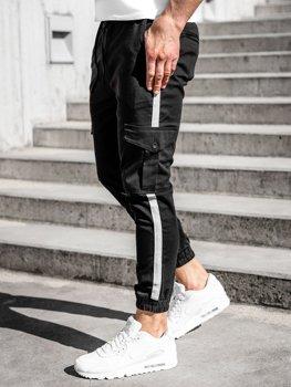 Czarne spodnie joggery bojówki męskie Denley 0012