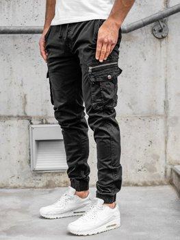 Czarne spodnie joggery bojówki męskie Denley CT6702